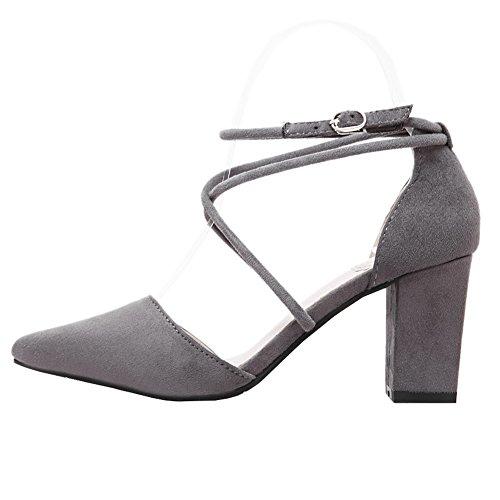 fereshte Women's Faux Velvet Pointed-Toe Tie-up Cross-Strap High Heels Stilettos Dress Pumps 130Gray HrGXkobAq