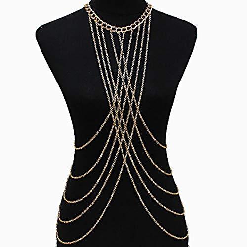 - Ginfonr Tassels Body Chain Bohemian Gold Necklace Jewelry Belly Waist Bra Boho Sexy Bikini Beach Harness Valentine Gift for Women Girls