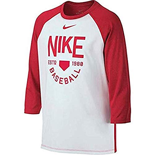 (Nike Boy's Dry Fit Legend Raglan Baseball Training Shirt (Medium) White/Red)