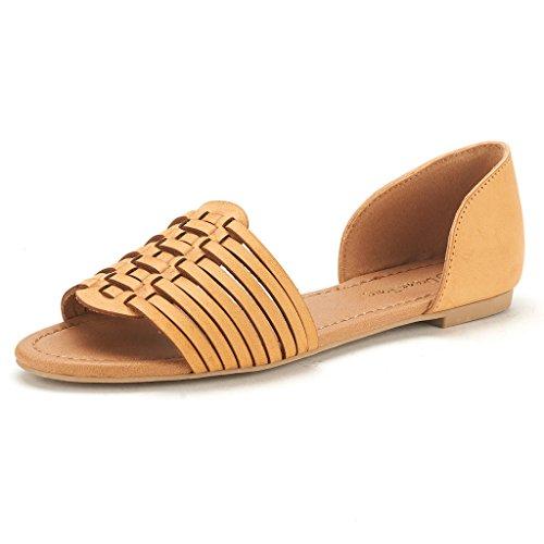 DREAM PAIRS RITAA Women's Gladiator Easy Slip On Open Narrow Toe Flat Summer Sandals TAN SIZE 11