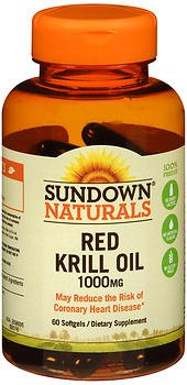 Sundown Naturals Krill Oil 1000 mg Softgels Triple Strength Red 60 Soft Gels (Pack of 4)