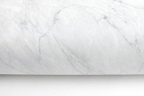 (Blanco Mate, Paquete de 1) Papel tapiz de mural autoadhesivo con acabado brillante y patron de granito con efecto marmol. 61cm X 2M (24 X 78,7), 0,23mm Papel tapiz desmontable a prueba de agua
