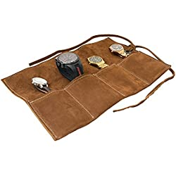 Soft Leather Travel Watch Roll Organizer Holds Up To 4 Watches Handmade by Hide & Drink :: Swayze Suede