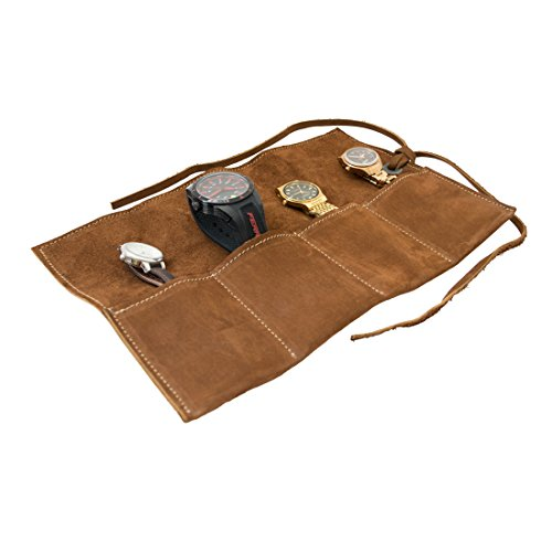 Hide & Drink Soft Leather Travel Watch Roll Organizer Holds Up to 4 Watches Handmade Swayze Suede ()