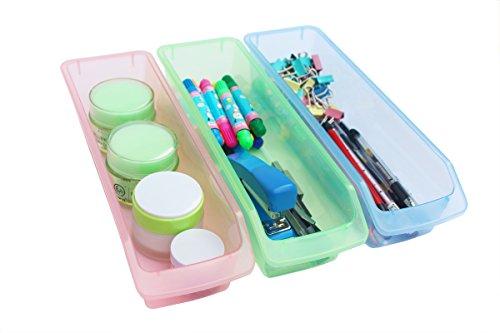 Honla Small Plastic Drawer Organizer Trays/Bins-Set of 3-Clear Drawer Dividers for Kitchen Cabinet/Bathroom Vanity/Office Desk/Desktop Storage Organization-Pink,Lime Green,Light Blue,12-Inch (Slim Mini Refrigerator compare prices)