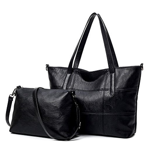- Lustear Soft Leather Tote Bag HandBag Two-Piece Large Package for Women (Black)