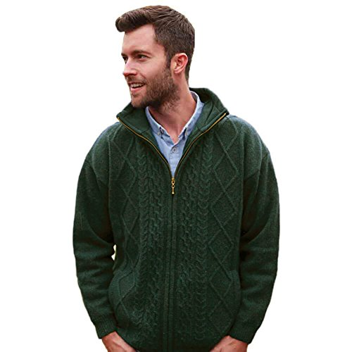 Traditional Irish Wool Sweater for Men, Full Zip, Front Pockets, Green, XL (Fisherman Irish Cardigan Sweater)