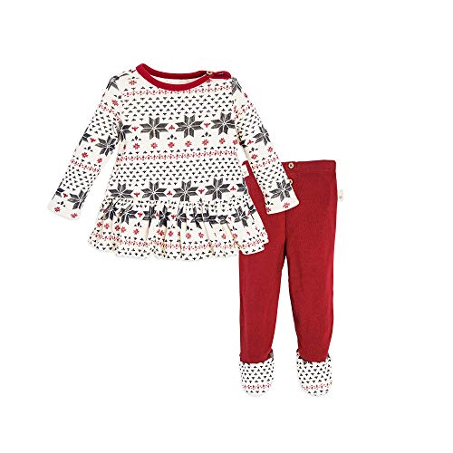 Burt's Bees Baby Top and Pant Set, Tunic and Legging Bundle, 100% Organic Cotton , cranberry Penned fair isle , 3-6 Months