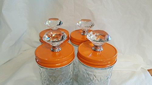 Orange Cannister - Mason Jar Canister Knob Converter Tops - Orange Lid, 4 Pack