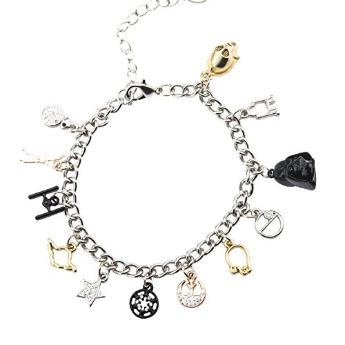 (Star Wars Jewelry Men's Multi Charm Stainless Steel Charm Bracelet, 7.5-Inch + 2-Inch Extender, Silver, Expandable)