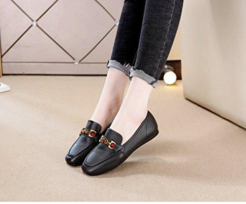 Tacón Cómoda Zapatos de Frijol Ayuda Pequeña Plana Moda Mujer de Cabeza Zapatos Baja de Black de Cuadrada bajo x8wqxPrO