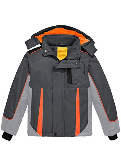 Wantdo Boy's Waterproof Skiing Jacket Outdoor Hiking Snow Jacket Coat Grey 10/12