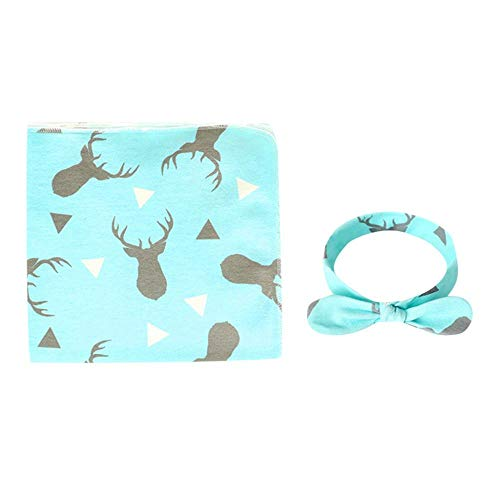 Feccile 2-Pack Unisex Baby Printed Soft Warm Cotton Newborn Infant Baby Swaddle Lightweight Toddler Blanket Sleeping Swaddle Wrap Headband Set - 1 Air Conditioning Blanket Towel,1 Bow Hair Band (D) ()