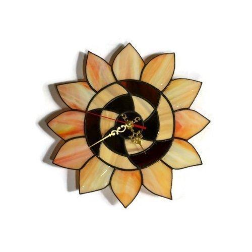 Stained Glass Flower Art Floral Kitchen Decor ZangerGlass Handmade 10 inch Sunflower Wall Clock