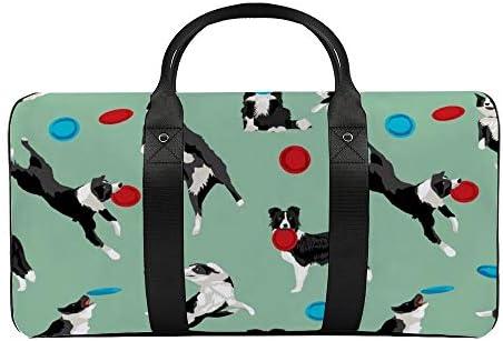 ボーダーコリーディスクドッグ1 旅行バッグナイロンハンドバッグ大容量軽量多機能荷物ポーチフィットネスバッグユニセックス旅行ビジネス通勤旅行スーツケースポーチ収納バッグ