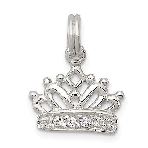 925 Sterling Silver Cubic Zirconia Cz Crown Pendant Charm Necklace Fine Jewelry Gifts For Women For Her