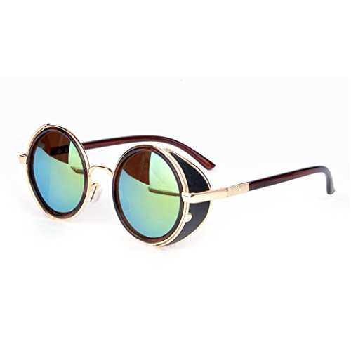 eshion Summer beach Hot Cool Vintage Style Unisex Round Frame - Sunglasses Summer