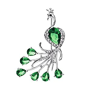 NEOGLORY Jewelry Green Zircon Rhinestone Brooch Pin Beautiful Peacock for Women Luxurious Style