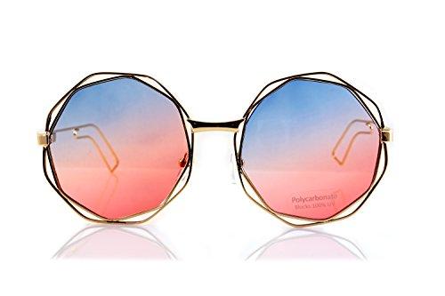 FBL Metal Double Wire Octagonal Hippie Round Flat Lens Sunglasses A079 (Blue Purple GR)