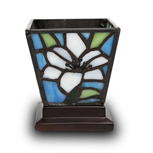 Lily Stained Glass Cremation Candle Keepsake - Extra Small Multi Memorials Keepsake for Ashes - Custom Engraving Included ()