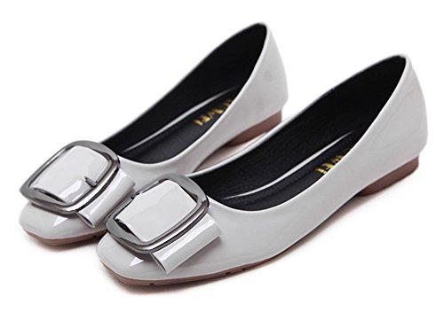 Square On Toe Slip Cut Low Flats Metal Aisun Shoes Womens Gray Comfortable Buckle zaqtRR