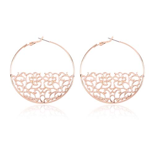 Curved Metal Crescent Moon Simple Geometric Hoop Drop Statement Earrings - Bohemian Tribal Filigree Lightweight Cutout Profile Shield Threader Dangles (Filigree Halfmoon Leaf Hoops - Rose -