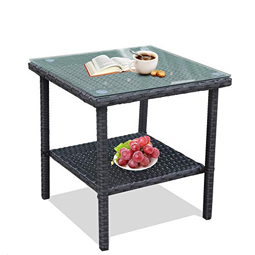 (LEAPTIME Patio Side Table Coffee Table Tea Table Charcoal Rattan Outdoor Indoor Square Table Balcony Small End Table)