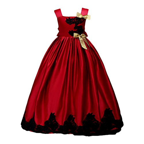 Glamulice Girl Party Dress Halloween Princess Costume Fancy Dress Up Flower Girls Dresses Ball Maxi Gown Red (Flower Girl Dresses Costumes)