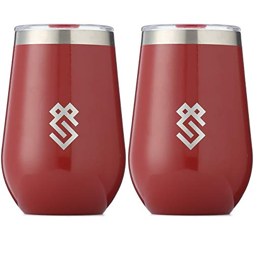 - Summit Outdoor Wine Glasses, Vacuum Insulated Wine Tumbler With Lid, Stemless Metal Cup Design, Stainless Steel, Unbreakable, Shatterproof, Portable, Set of 2, Home, Travel or Camping. NEW SLIDING LID