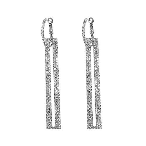 1 Pair Fashion Long Geometric Earrings Luxury Rectangle Earrings for Women Jewelry Accessories (White) ()