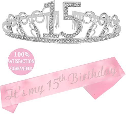 15th Birthday Tiara and Sash Pink| Happy 15th Birthday Party Supplies| Crystal Tiara Birthday Crown for 15th Birthday Party Supplies and Decorations (Silver)... (Cake Ideas For 15 Yr Old Girl)