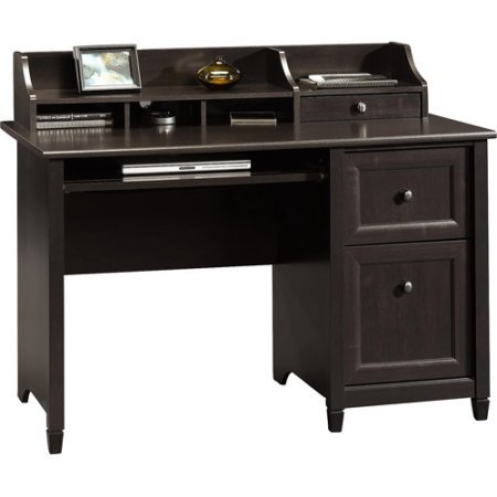 Computer Desk, Estate Black Finish, Home and Office Furniture, Removable Laptop Shelf, Office Desk Hutch, Laminate Finish, Solid Wood Accents, Large Working Area, Made from Engineered (Estate Hutch)
