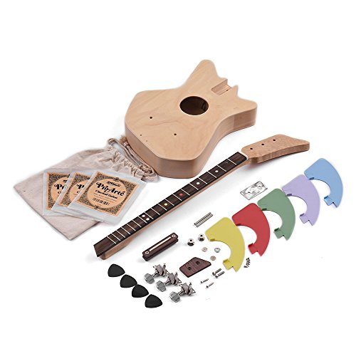 Muslady DIY 3-String Acoustic Guitar Kit 30 Inch Unfinished Birch Wood Body Maple Neck Rosewood Fingerboard with Gig Bag Picks for Children Students Beginners ()