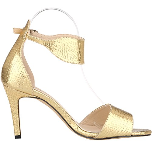 Toe Zbeibei Women's Strap High Open Crocodile Ankle Grain Classic Heels Sandals Pumps gold Crocodile 6pn6T8B