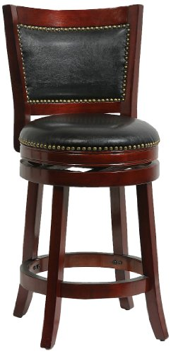 Boraam 42924 Bristol Counter Height Swivel Stool, 24-Inch, Cherry