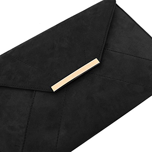 Anna Smith Damen Umschlag Clutch mit Gold Metallkette Strap Abendtasche Schwarz sV6fj