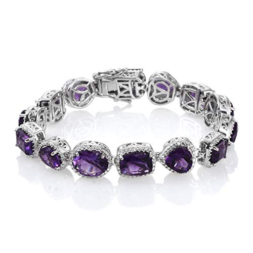 Amethyst Sterling Silver Charm Bracelet - 925 Sterling Silver Platinum Plated Oval Amethyst Fashion Tennis Bracelet For Women 6.75
