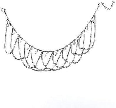 アンクレット レディース エレガントな女性のアンクレットチェーンレトロタッセルパールシルバーメッキアンクレットギフト28センチメートル チェーン アンクレット (Color : Silver, Size : One size)