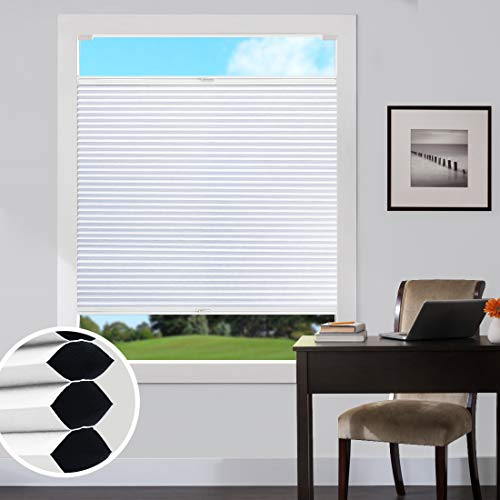 Keego Blackout Cellular Shades Custom Size, Top Down Bottom up Window Blinds, White, 12″ W x 40″ H, Room Darkening Honeycomb Blinds for French Doors Windows