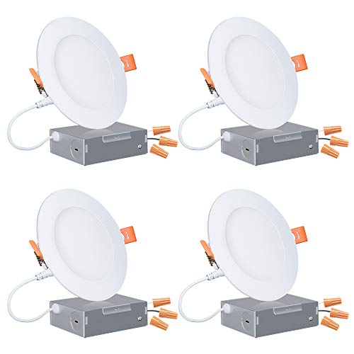 4 Inch Ultra-Thin LED Downlight with Junction Box, Dimmable Slim Recessed Ceiling Light 10W (60W Replacement), 3000K (Warm White), Retrofit Lighting Fixture with Jbox Energy Star