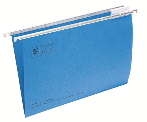 5 Star Suspension File Manilla Heavyweight with Tabs and Inserts Foolscap Blue [Pack - Suspension Tab