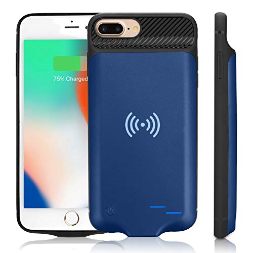 Qi Battery Case for iPhone 6 Plus/6S Plus/7 Plus/8 Plus, 5000mAh Portable Wireless Charging Battery Extra Battery External Battery Case Battery Rechargeable Power Bank Battery Case (5.5 inch)-Blue (Qi Wireless Charging Case Iphone 6 Plus)