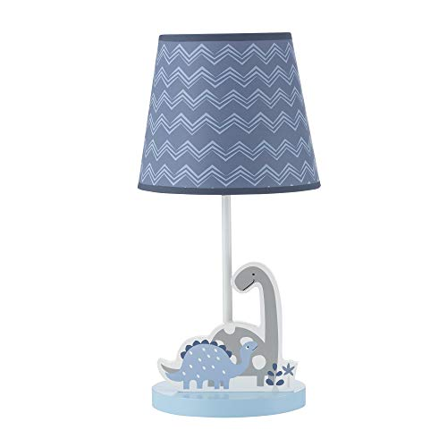 Bedtime Originals Roar Dinosaur Lamp with Shade & Bulb, Blue/Gray