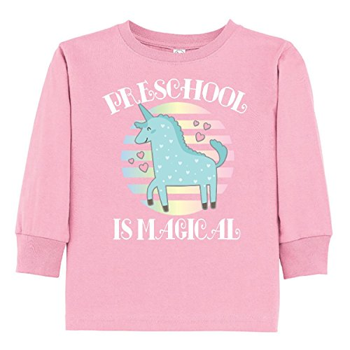 inktastic - Preschool is Magical Toddler Long Sleeve T-Shirt 2T Pink 31613 ()
