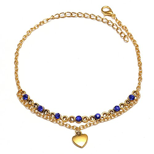 Idin Fashion Anklet - Antique golden tone anklet with sapphire rhinestone and heart charm (approx. 225 mm)