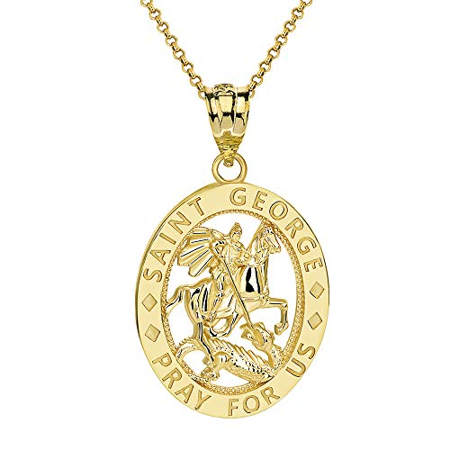 (CaliRoseJewelry 10k Saint George Pray for Us Oval Charm Pendant Necklace in Yellow Gold,)