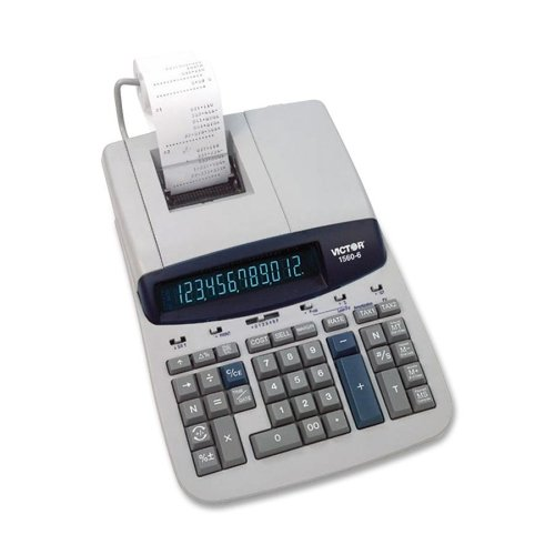 Wholesale CASE of 2 - Victor 12-Digit Two Color Printing Calculator-12-Digit Calculator,2-Clr Printing,8-3/4''x12-1/2''x2-3/4'',GY