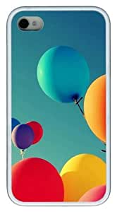 iPhone 4S Case, Holiday Balloon TPU Custom iPhone 4/4S Case Cover Whtie