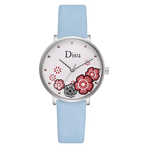 adonpshy Women's Watch&Trendy Women Flower Pattern Round Dial Faux Leather Band Quartz Wrist Watch,a Good Gift for Your Lover (208 Silver Case Watch)