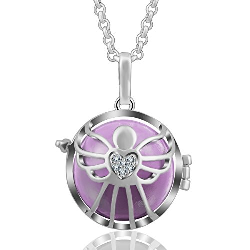 AEONSLOVE Love Angel Guardian Cubic Zirconia Harmony Ball Chime Bell Pendant Necklace, 30 Chain, Gifts for Women Girls